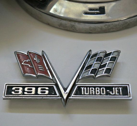 1960s Chevrolet Car Emblem Turbo Jet 396 By Pinkelephantsretro