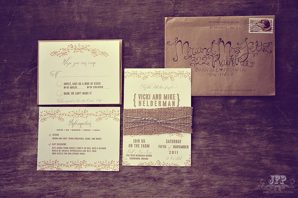 Wedding Invitations Indianapolis: Wedding Invitation, Kraft Paper Invitation, Burlap