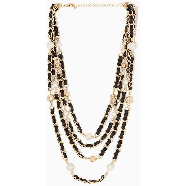 Eloise Pearl Layered Necklace ❤ liked on Polyvore featuring jewelry, necklaces, charm necklace, charm jewelry, statement necklace, multi layer necklace and double layer necklace