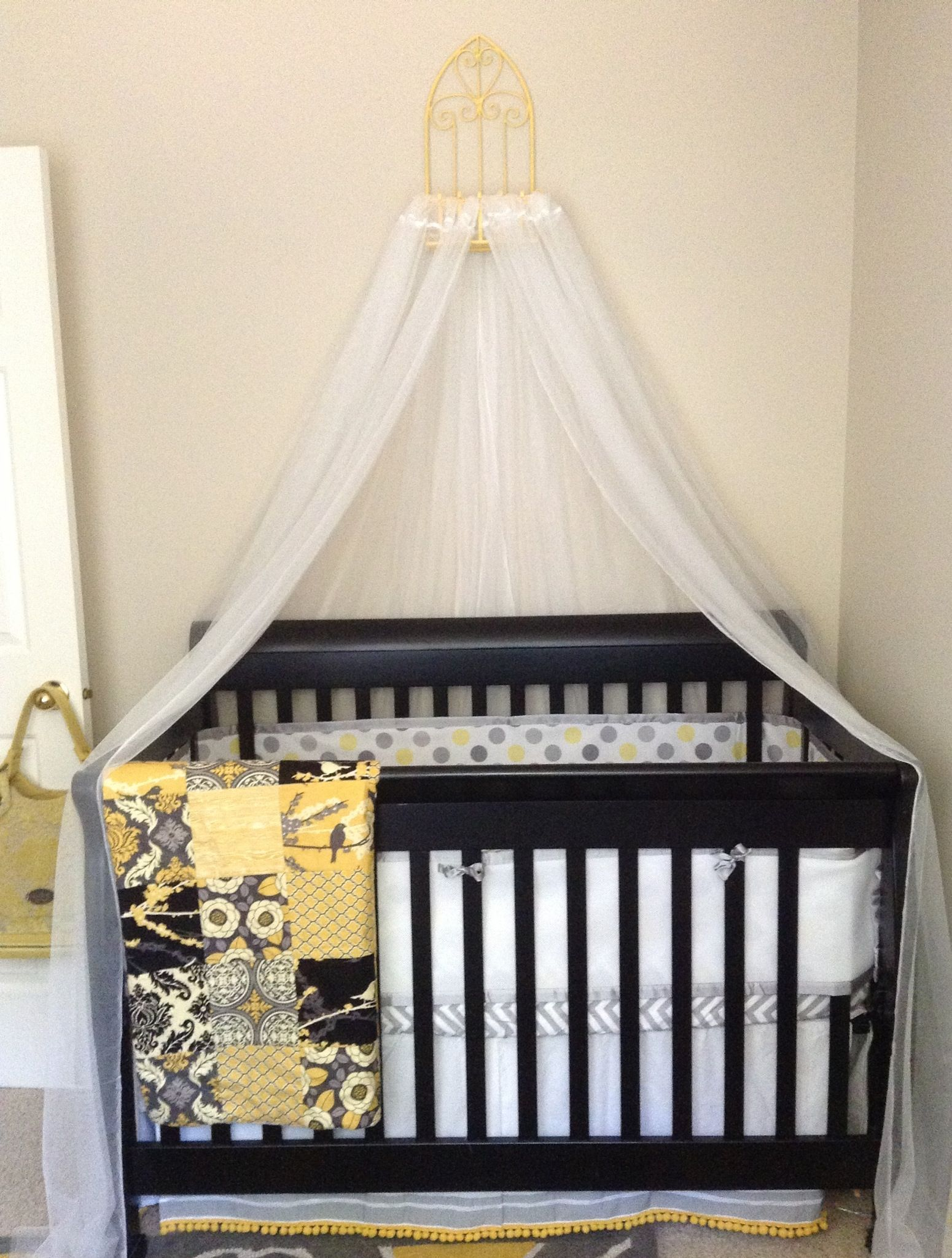 DIY crib canopy for 19! Outdoor wire hanger from JoAnn