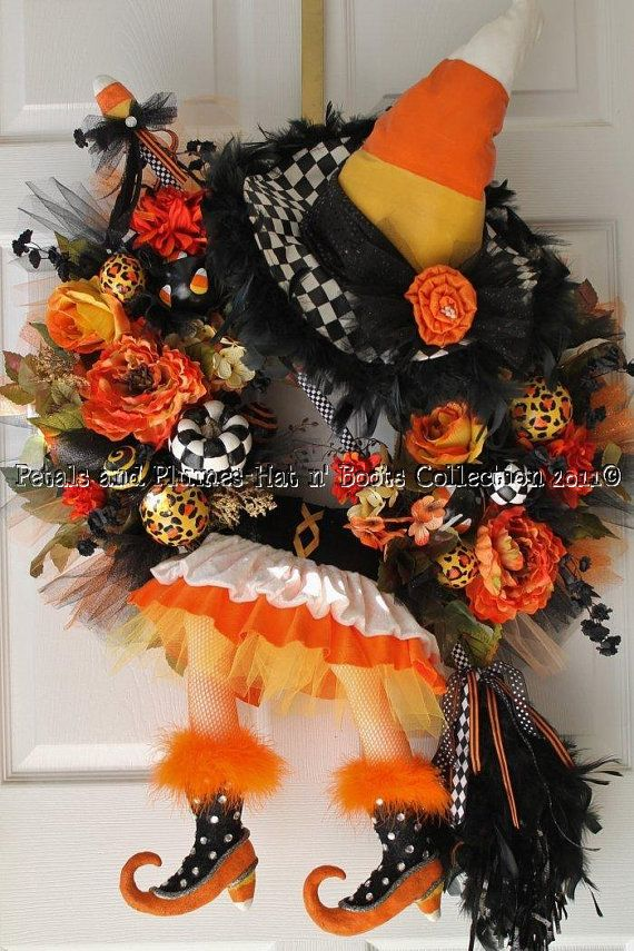 Halloween Wreath -Candy Corn Witch Diva - \