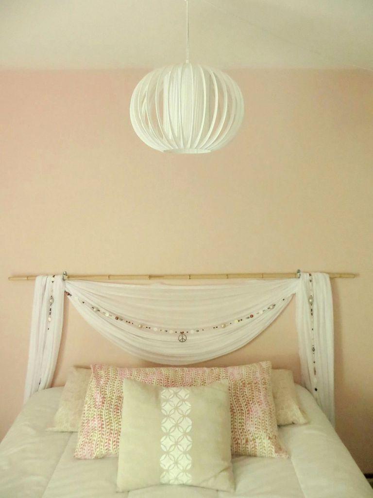 DIY sheer canopy inspired swag, beaded garland and bamboo wood ...