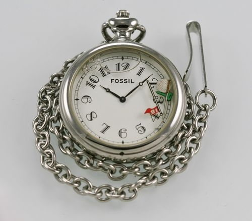 Fossil Pocket Watch Mens Stainless Steel Silver Water Resistant