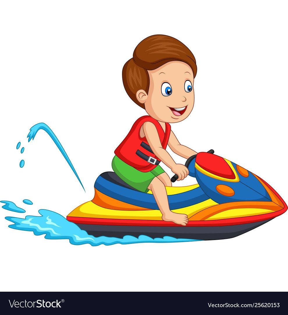 Illustration Of Cartoon Little Boy Rides A Jet Ski Download A Free Preview Or High Quality Adobe Illustrator Ai Social Media Design Graphics Jet Ski Cartoon