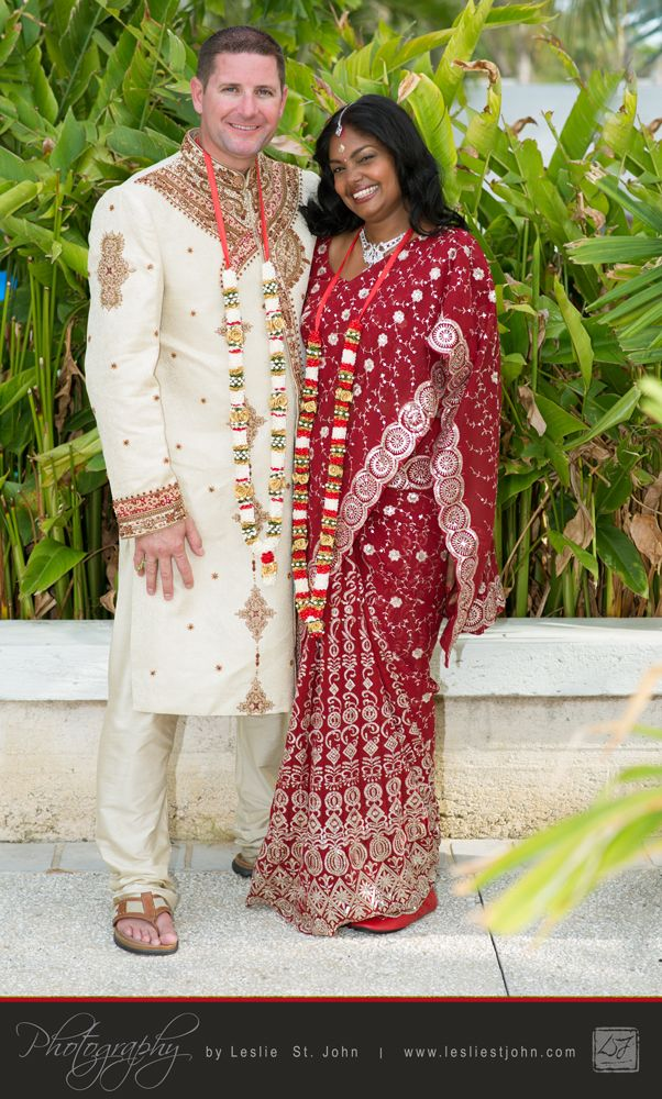 Roopa And Mike Got Married At The Beach House In Barbados Twice First A Traditional Hindu Ritual East Indian Wedding Attire Then