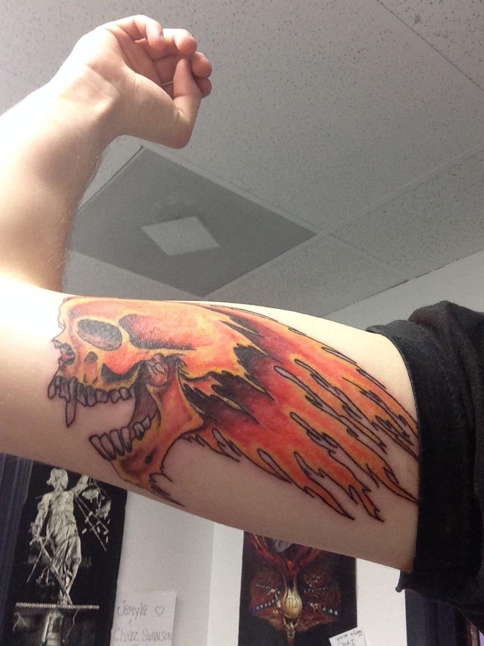 Metallica flaming skull tattoo   Cool tattoos   Pinterest ...