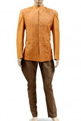 e8293627f Rust color Embroidered Jodhpuri Suit with brown trouser-http   bit.ly
