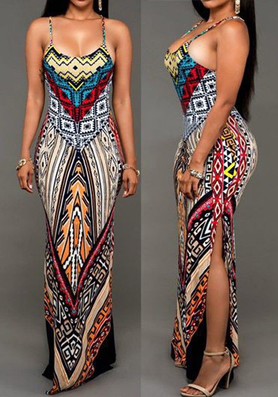 498c1a57502a5 Multicolor Geometric Printed Spaghetti Strap Slit Design Backless Maxi Dress