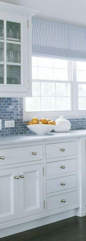 Raffrollo Küche Senkrechte Streifen In Weiß Und Blau | Vorhänge