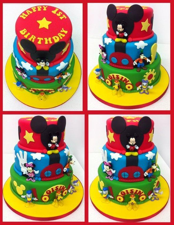 Pleasing 3 Tier Mickey Mouse Birthday Cake With Images Mickey Mouse Personalised Birthday Cards Xaembasilily Jamesorg