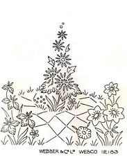 English Country Garden Flowers ~ Vintage 30s 40s Iron-on Embroidery Transfer 101