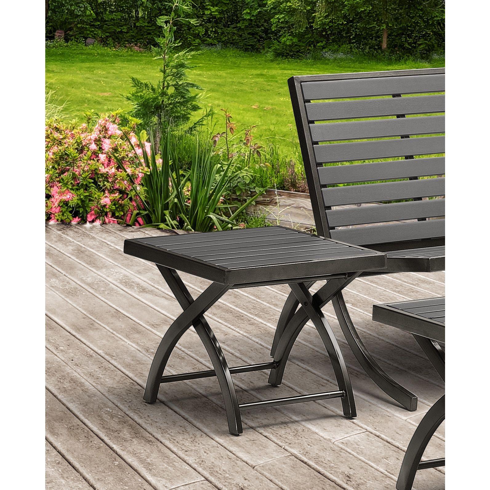Peachy Rialto Side Table Charcoal Grey Patio Furniture Metal Machost Co Dining Chair Design Ideas Machostcouk