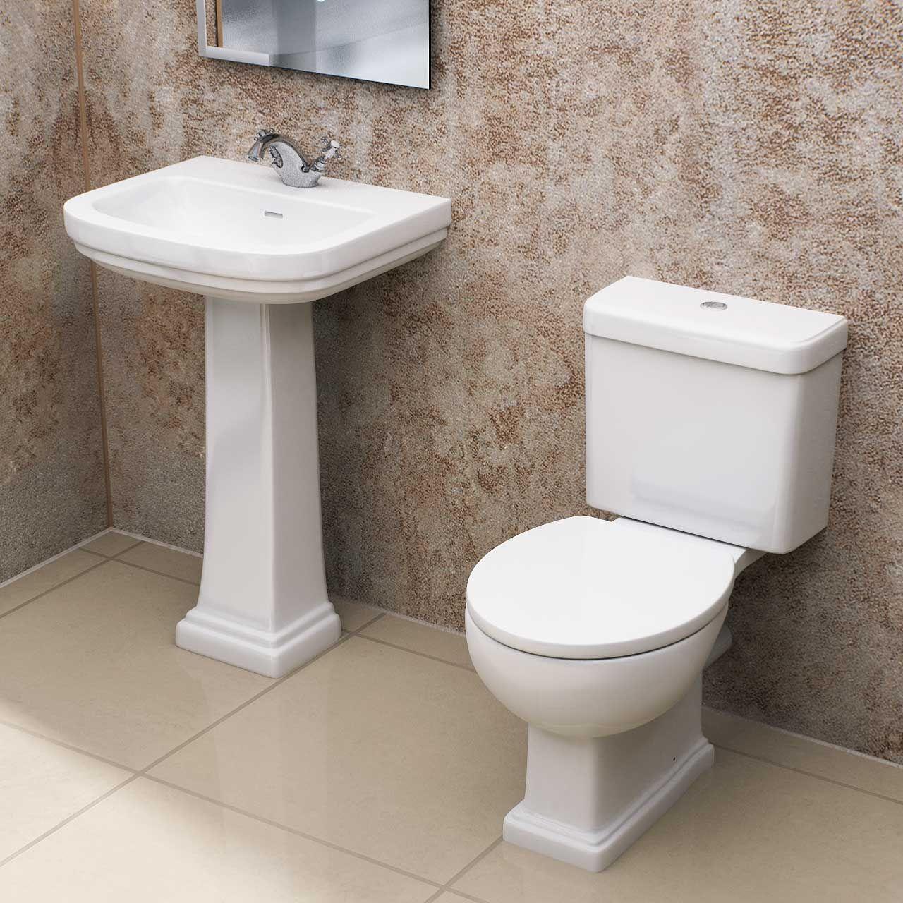 Corum 550mm Full Pedestal Basin Toilet Suite Toilet Suites