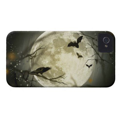 #Bats By the Moon on Halloween Case-Mate iPhone 4 Case - #Halloween #happyhalloween #festival #party #holiday