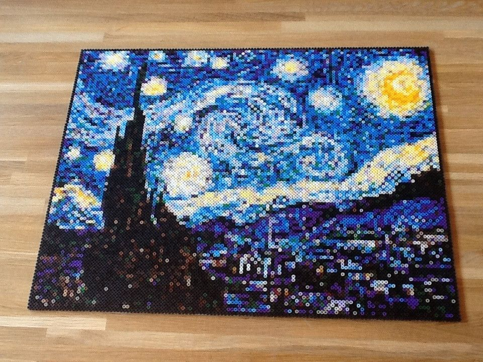 Starry night by Van Gogh perler bead by r/beadsprites