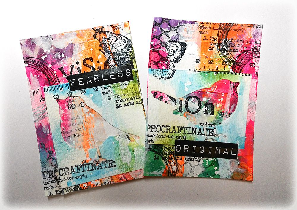 Colourful mixed media artist trading cards artist