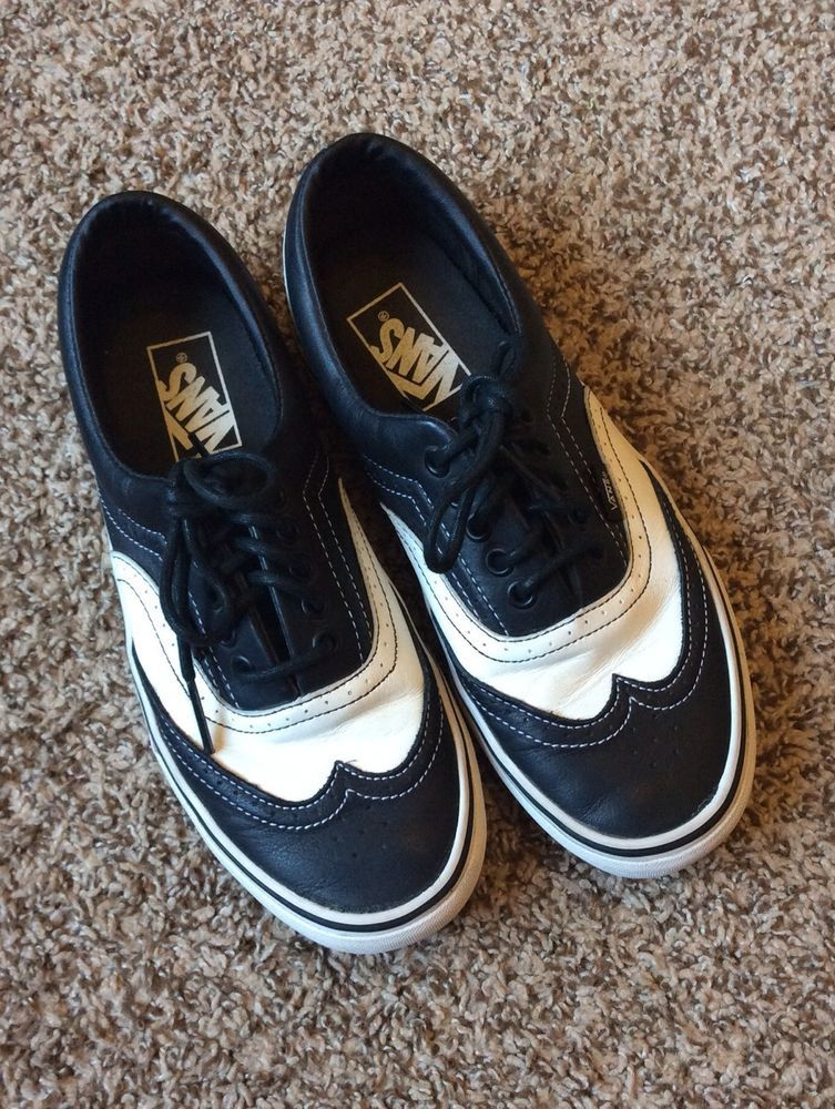 b041bf6173481e Era Black   White LEATHER Vans Wingtip Wedding Skate Shoes Mens 7 Womens  8.5  Vans  Skateboarding MAYBE FOR JEM AND THE GUYS