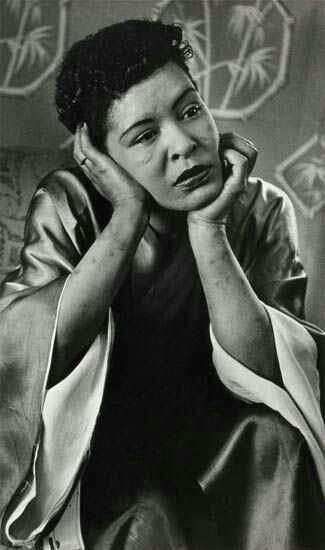 Billie Holiday, telling photo...facial scars she didn't have when she started... strain... track marks looks like... chasing the high (herion)... listening to jazz tonight
