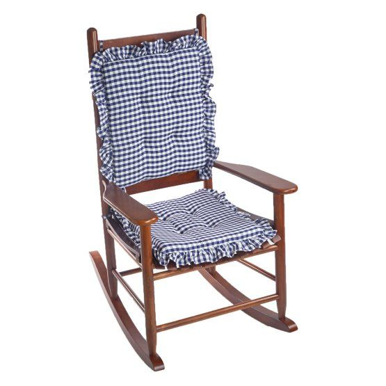 Charmant Klear Vu Gingham Ruffle DelightFill 2 Piece Rocking Chair Cushion Set