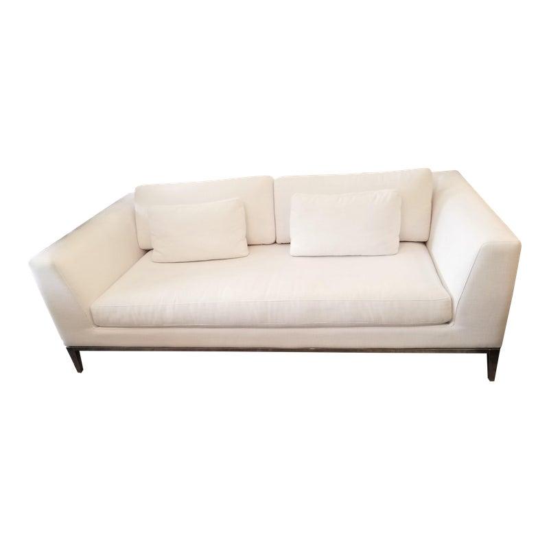 Restoration Hardware Italia Taper Arm White Sofa With Chrome Finish Legs White Sofas Sectional Sofa