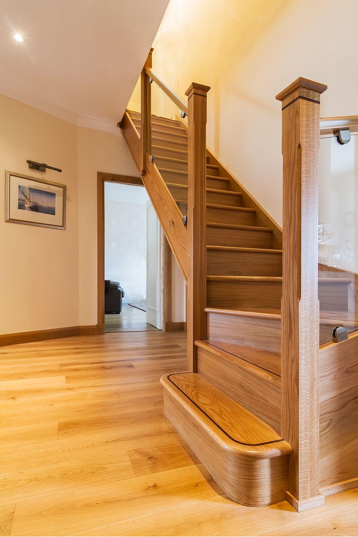 Best Oak Stairs Glass Balustrade Walnut Inlay Band Chrome 400 x 300