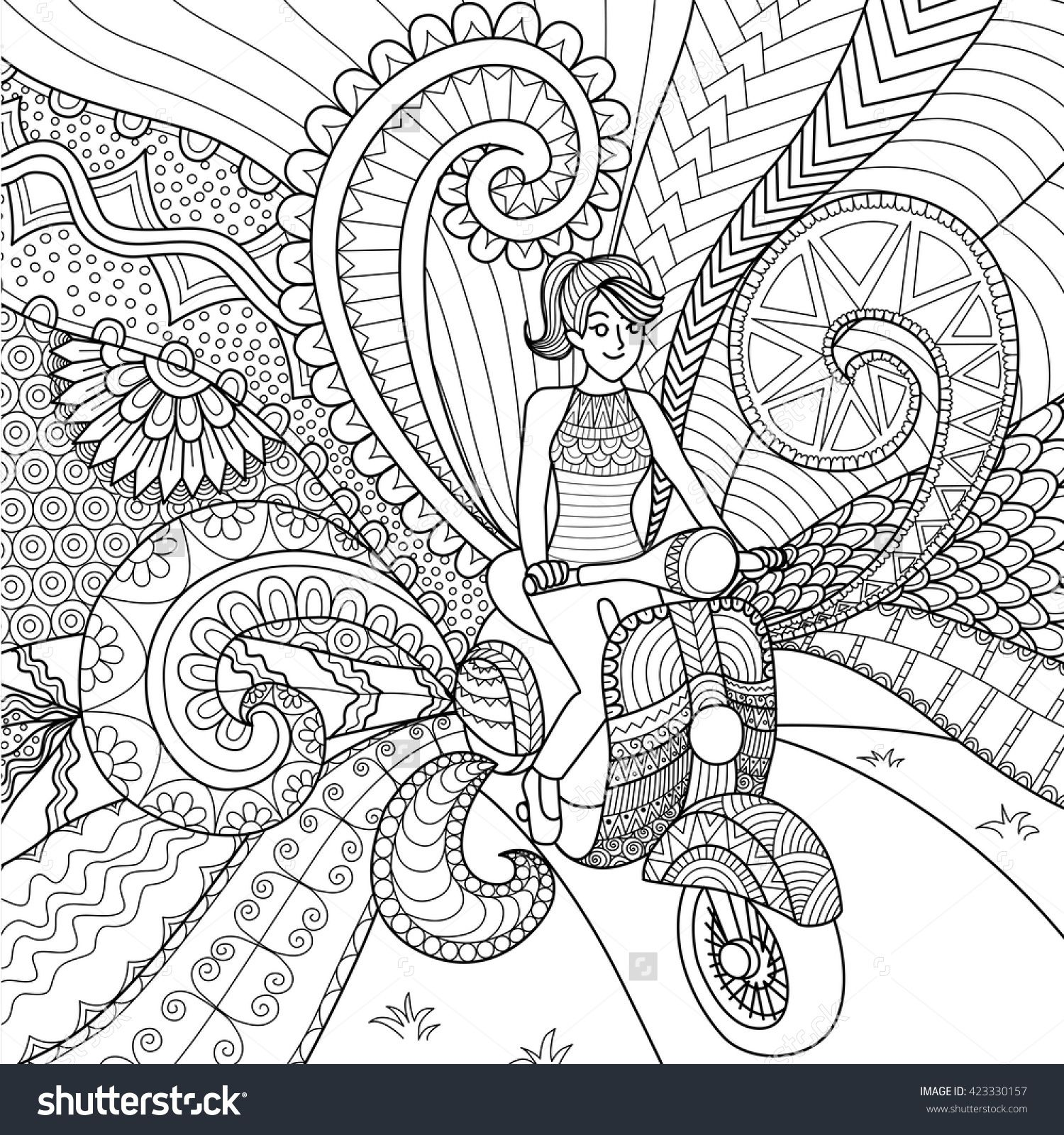 Girl Driving Scooter Clean Lines Doodle Design For Coloring Book Adult Stok