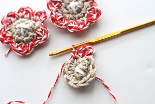 DIY Crocheted Baker's Twine Petal Flowers Tutorial and Pattern