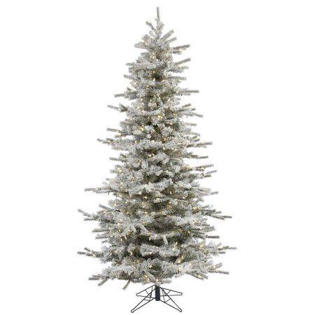 Vickerman Pre-Lit 65\u0027 Flocked Slim Sierra Artificial Christmas Tree
