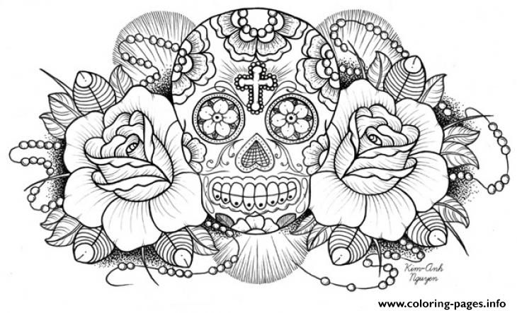 Print Very Difficult Sugar Skull For Adults Coloring Pages Skull Coloring Pages Skulls Drawing Cross Coloring Page