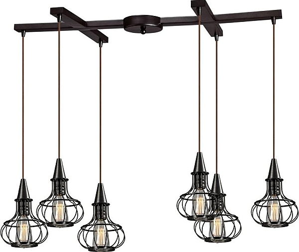 multi light pendant lighting. Elk Lighting 14191-6 Yardley 6-Light Cage Multi Light Pendant - Oil Rubbed H