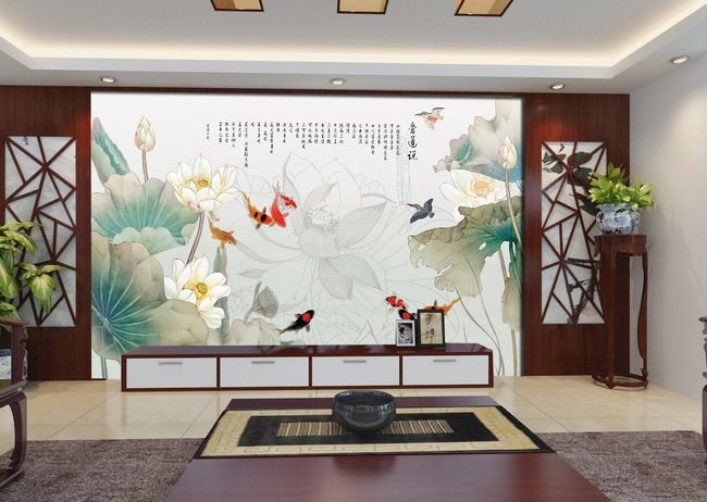 papier peint sur mesure style chinois-Les lotus, les carpes et le ...