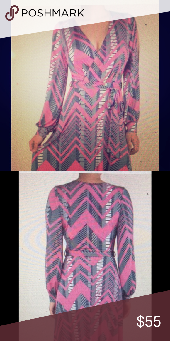 Venechia Maxi Wrap Dress w/Long Split Cuff sleeve Long maxi, blue and pink, Venechia, cuff split sleeve. Dresses Maxi