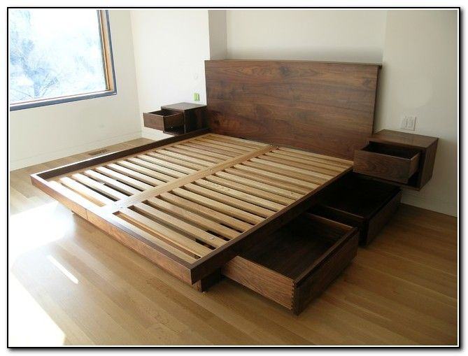 Furniture Wooden King Platform Bed Frame With Drawers Underneath And Headboard Plus Mounted Bedside Tables