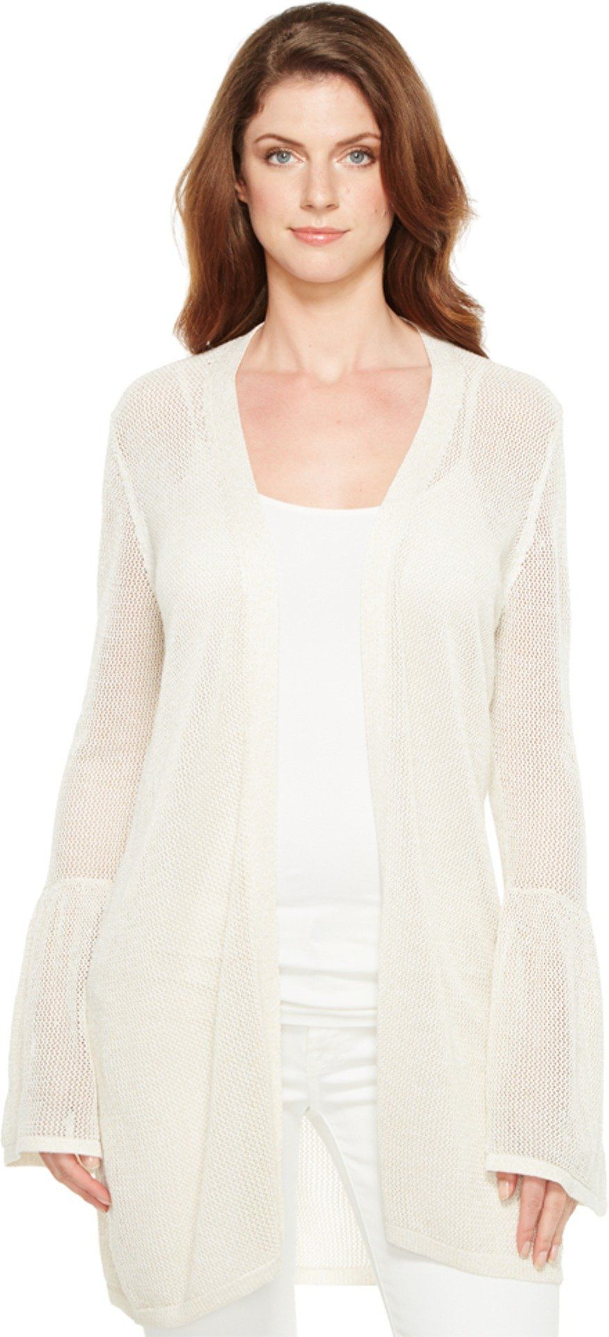 Calvin Klein Women's Bell Sleeve Cardigan with Lurex Soft White ...