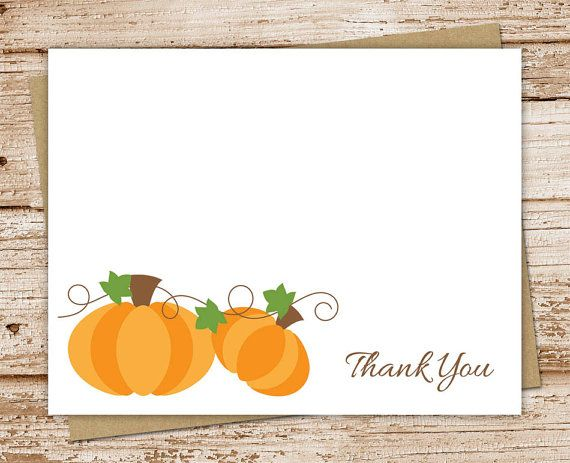 Pumpkin Thank You Cards Set Of 8 Autumn By Celebrate The Little