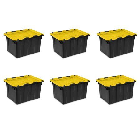 Sterilite 12 Gal 45 L Hinged Lid Industrial Tote Yellow Lily Case Of 6 Products In 2019 Vertical Storage Kids Storage Storage Containers