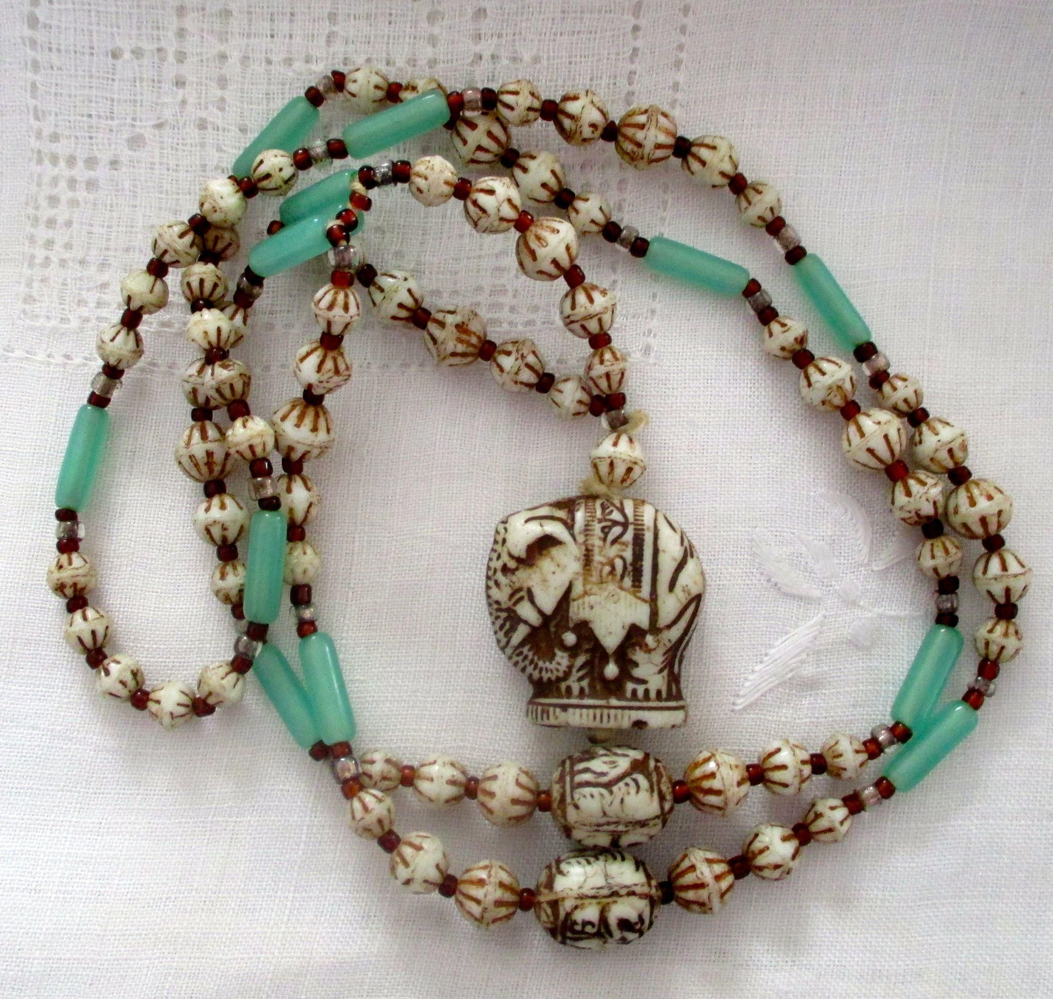 Vintage Carved Bone Bead Necklace Painted Beads Jade Bars Carved Elephant Pendant Before 1940s Bone Bead Necklace Beaded Necklace Elephant Pendant