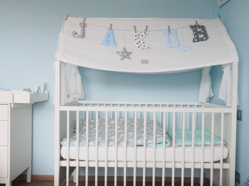 Stokke Kinderzimmer ~ Baby boy blue white and gray nursery featuring the stokke home