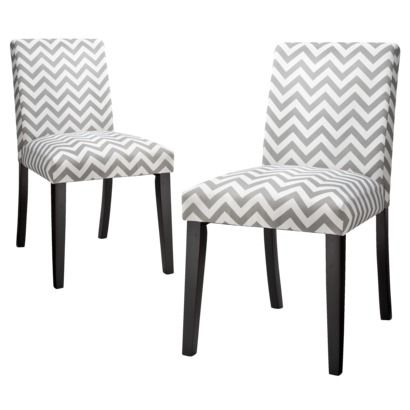 Uptown Dining Chair Grey & White Chevron - Set of 2