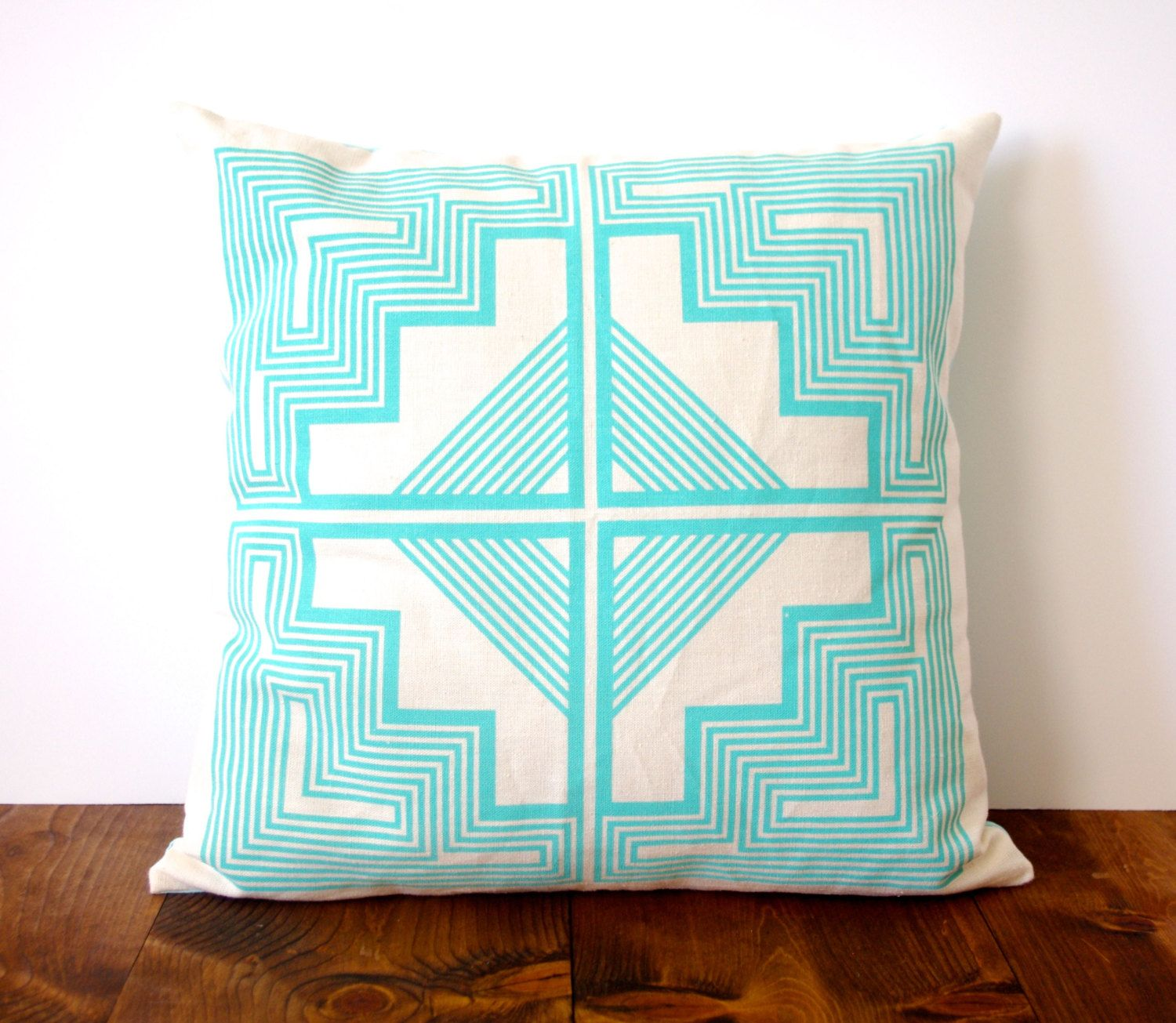 Native quilt pillow ocean turquoise blue screen printed