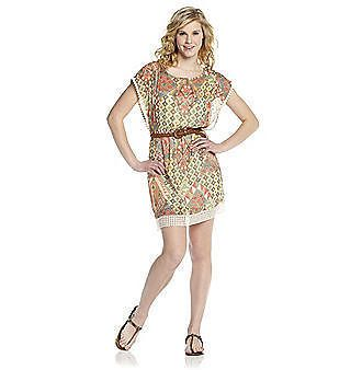 NWT As U Wish® Juniors' Navajo-Printed  Belted Crochet-Trimmed Dress Size L #Casual
