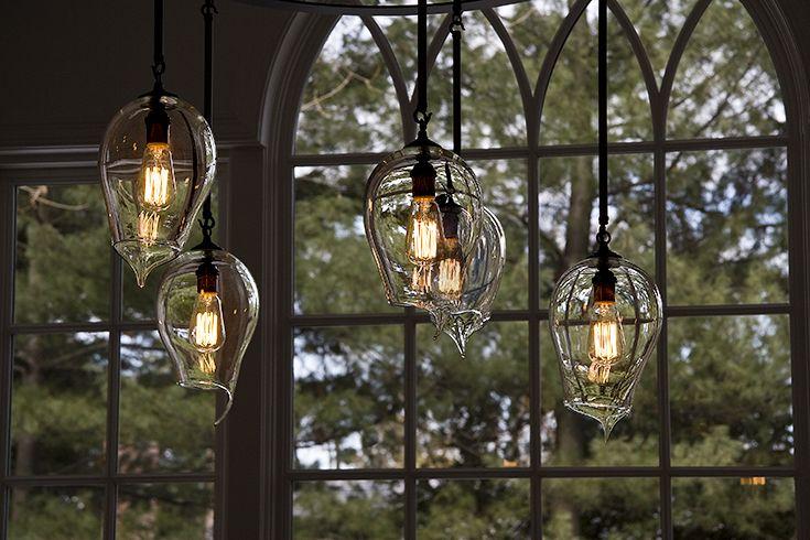 Modern chandelier pendant lighting custom blown glass for restaurant home