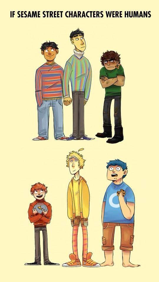 If Sesame Street Characters Were Humans Sesame Street Funny Pictures Sesame Street Characters