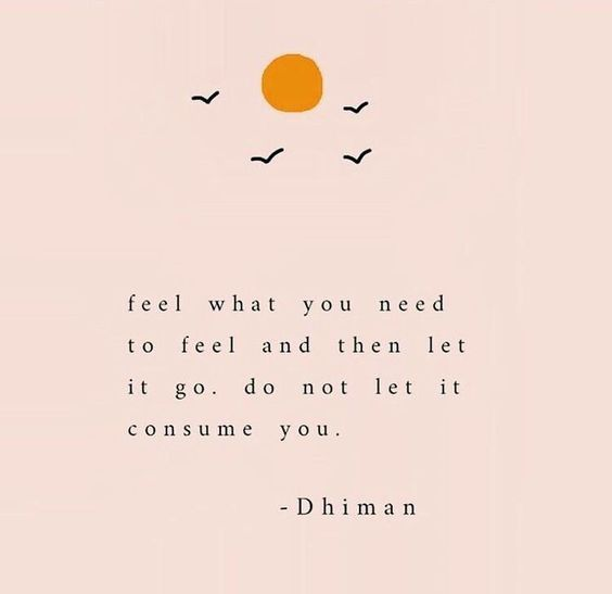 Feel what you need to feel and then let it go. Do not let it consume you. -Dhiman