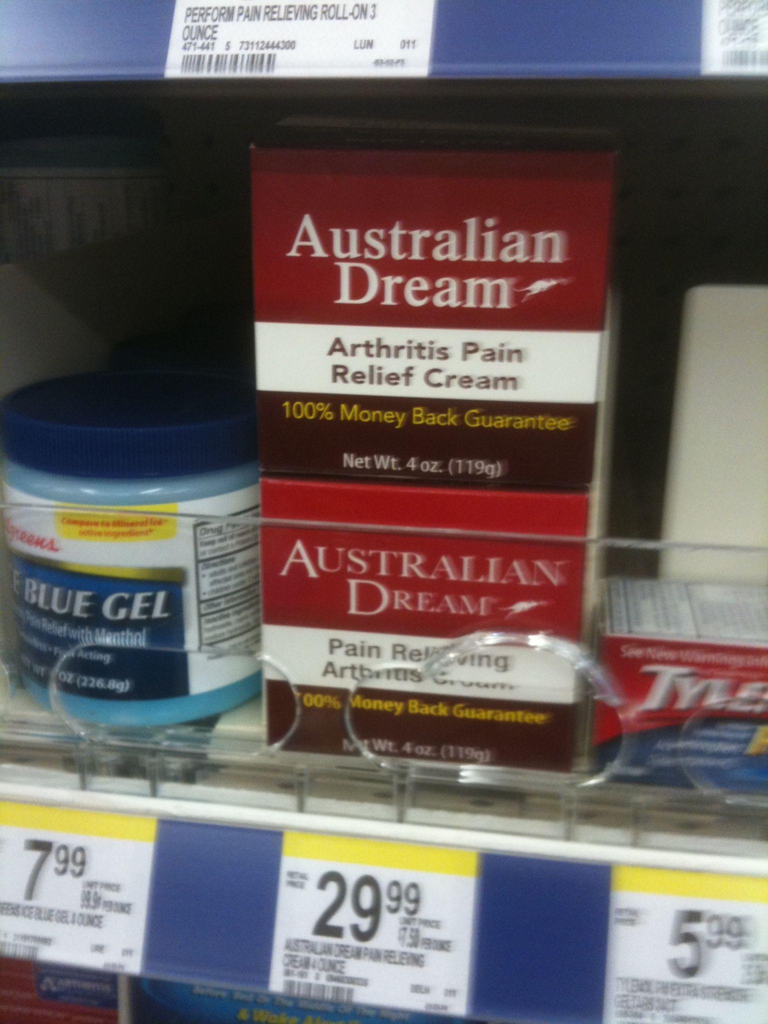 australian dream arthritis pain relief cream available at