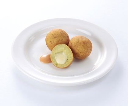 Sweet Potato Balls with Cheese   Fried Japanese sweet potato balls filled with delicious Mozzarella cheese and served with Japanese sauce.