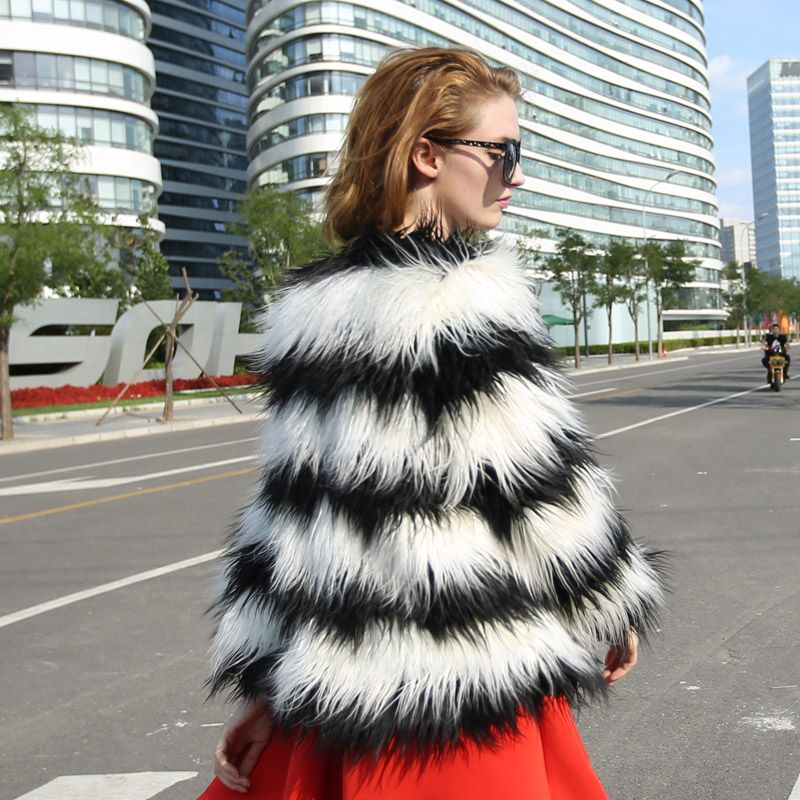 Black and white striped fur coat
