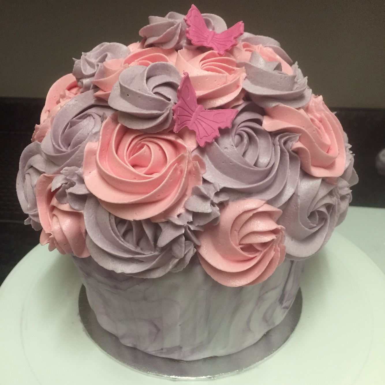 Pink and purple giant cupcake kaybakes creations pinterest