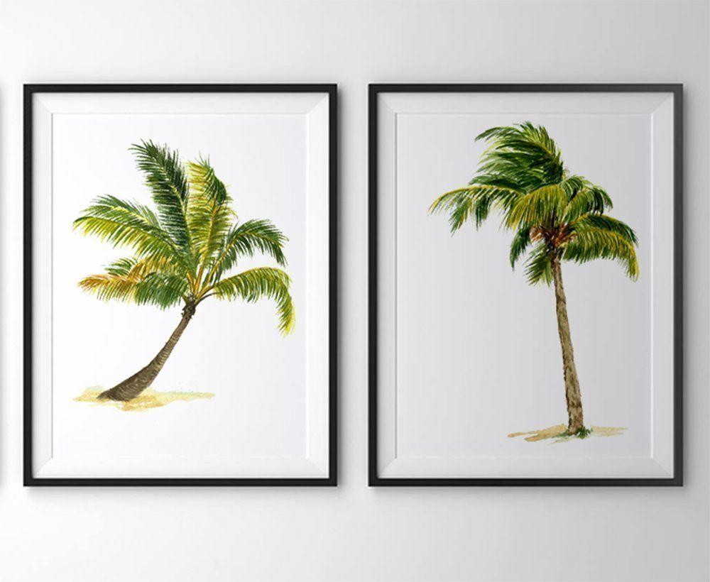 Palm Tree Art #A010   Set Of 2 Art Prints (8x10).Palm Part 90
