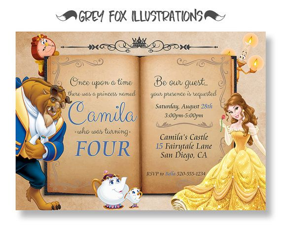 Beauty and The Beast Invitation Belle Invitation Beauty and The